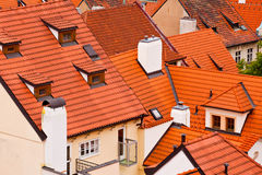 Tile roofs of the old city. Top view Stock Image