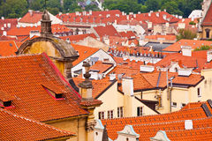 Tile roofs of the old city. Top view Royalty Free Stock Photo