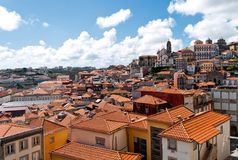 Tile roofs of Porto, Portugal. Typical roofs of the Barredo district in Porto, Portugal. View from the Porto Cathedral Royalty Free Stock Photo