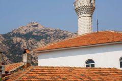 Tile roofs of rural houses in the mountain turkish village Stock Images