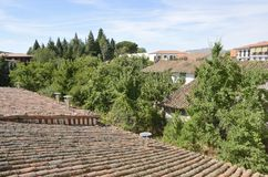 Tile roofs of the village of Candelario Royalty Free Stock Image