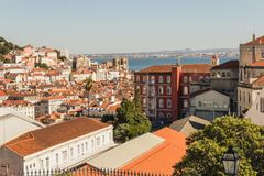 Tile rooftops in coastal city Royalty Free Stock Photo