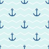 Tile sailor vector pattern with anchor on white and blue stripes background Stock Image