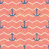 Tile sailor vector pattern with pink and white stripes, golden dust and blue anchor
