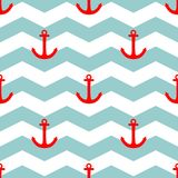 Tile sailor vector pattern with red anchor on white and blue stripes background Stock Photo