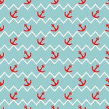 Tile sailor vector pattern with red anchor on white and blue stripes background stock illustration