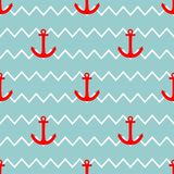 Tile sailor vector pattern with red anchor on white and green stripes background Stock Photos