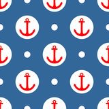 Tile sailor vector pattern with red anchor and white polka dots on navy blue background Royalty Free Stock Photos