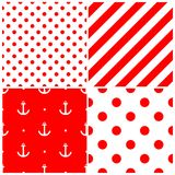 Tile sailor vector pattern set with anchor, polka dots and stripes on white and red background Royalty Free Stock Photography