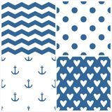 Tile sailor vector pattern set with polka dots, zig zag stripes and hearts on blue background Stock Photos