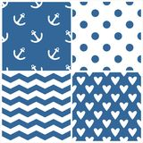 Tile sailor vector pattern set with polka dots, zig zag stripes and hearts on blue background Stock Images