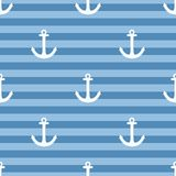 Tile sailor vector pattern with white anchor on navy blue stripes background Stock Images