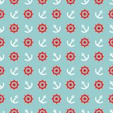 Tile sailor vector pattern with white anchor and red rudder on blue background Stock Photos