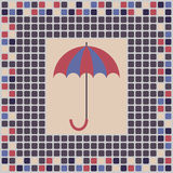 Tile. Sample tiles depicting umbrella in delicate pastel colors Royalty Free Stock Photography