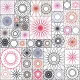 Tile seamless pattern with spirograph. Mandalas in square shape. Wallpaper design, Stock Photos