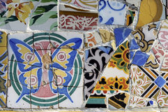 Tile Series 1, Guell Parc. Beautiful Tiles of Guel  Park, Barcelona Royalty Free Stock Photos