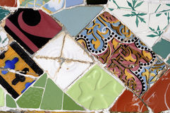 Tile Series 11, Guell Parc. Beautiful Tiles of Guel  Park, Barcelona Royalty Free Stock Image