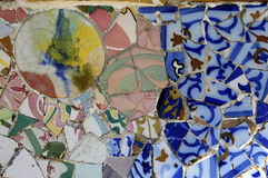Tile Series 3, Guell Parc. Beautiful Tiles of Guel  Park, Barcelona Royalty Free Stock Photography