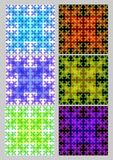 Tile set with square patterns in fractal style Sierpinski carpet. Textile sampler in different color variants. Variegated ornament stock illustration