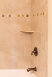 Tile Shower with Bronzed Fixtures Stock Photos