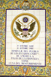 Tile sign along the Avenida de America reads, Homage of the people of the United States of America to Palos de la Frontera, cradle Royalty Free Stock Photos