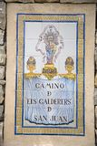 Tile sign for Camino d els Calderers d San Juan, Majorca, the largest island of Spain, Europe on the Mediterranean Sea and part of Royalty Free Stock Photo