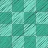 Tile square, seamless background, green emerald , vector. The shaded squares on the diagonal emerald green on dark green field. Wood texture, shading pencil Stock Photos