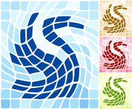 Tile stylized swan Royalty Free Stock Photos