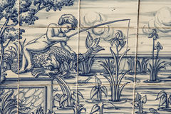 Tile, Talavera, painting, fisherman in the pond Stock Photography