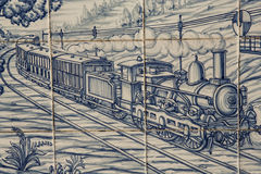 Tile, Talavera, painting, steam train and wagons machine Royalty Free Stock Image