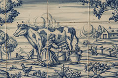 Tile, Talavera, painting, work in the fields. Talavera pottery is a type of ceramic called Which is manufactured in the city of Talavera de la Reina based mud Royalty Free Stock Photography