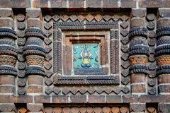 The tile of the Temple of the Beheading of John the Baptist in the city of Yaroslavl, Russia stock image