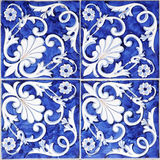 Tile texture background with blue majolica.  Royalty Free Stock Photography