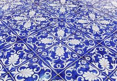 Tile texture background with blue majolica.  Royalty Free Stock Photos