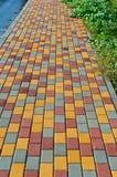 Tile ,track, sidewalk, street, styling, coating, pavement, paving. Paving slabs, driveway paving, coating colored paving tiles Stock Photo