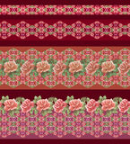 Horizontal  mexican  pattern with roses and geometric elements . Vector print. Stock Photography