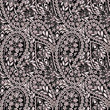 Seamless black and white   pattern with paisley. Vector set of 2. Stock Image