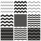 Tile vector chevron pattern set with black zig zag on white background Stock Image
