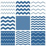 Tile vector chevron pattern set with sailor blue and white zig zag background. For seamless decoration wallpaper Stock Photos