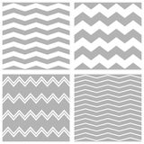 Tile vector chevron pattern set with white and grey zig zag background Stock Images