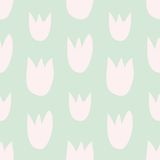 Tile vector floral pattern with hand drawn pink tulips on green background. Seamless vector floral pastel pattern with hand drawn pink tulips on fresh spring Royalty Free Stock Images