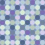 Tile vector pattern with big colorful dots on blue background Royalty Free Stock Images