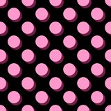 Tile vector pattern big pink polka dots on black background. Tile vector pattern big pink polka dots with shadow on black background Stock Images