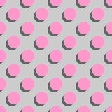 Tile vector pattern big pink polka dots with shadow on grey background. For seamless decoration wallpaper Royalty Free Stock Photos