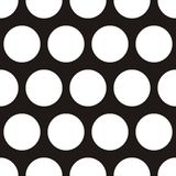 Tile vector pattern with big white polka dots on black background Stock Photo