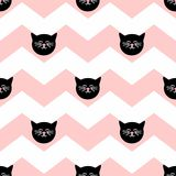Tile vector pattern with black cats on chevron zig zag background. Tile vector pattern with black cats on chevron pink and white zig zag background Royalty Free Stock Photo