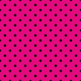 Tile vector pattern with black polka dots on neon pink background Royalty Free Stock Photography