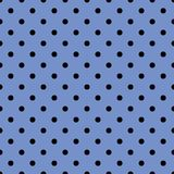 Tile vector pattern with black polka dots on pastel blue background. Or seamless geometric wallpaper Stock Photo