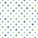 Tile vector pattern with blue and green polka dots on white background Stock Photos