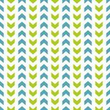 Tile vector pattern with blue and green zig zag on white background Royalty Free Stock Photography